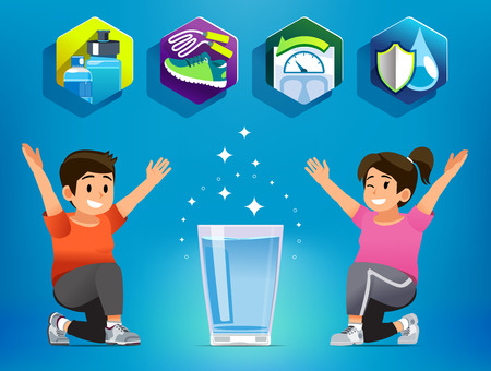 Acqua potabile per l'esercizio fisico per le persone obese. Bevanda più appropriata della persona che vuole perdere peso. La salute inizia con il mangiare. Vettoriali