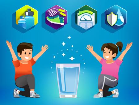 Trinkwasser für körperliche Bewegung bei übergewichtigen Menschen. Am besten geeignetes Getränk von Person, die Gewicht verlieren möchte. Gesundheit beginnt mit Essen. Vektorgrafik