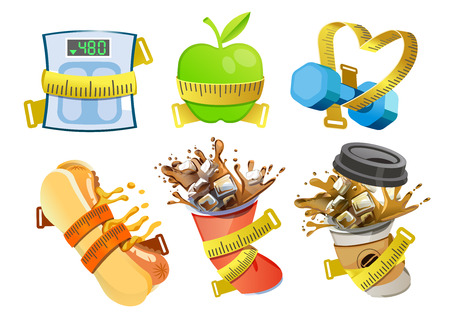 Food Control and Discipline in Weight Loss in measuring tape concept.