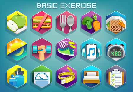 Basic exercise for lose weight color icon concept. Program body weight control.