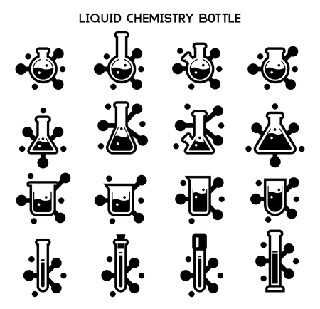 Reaction of chemistry mix icon concept. Chemical research. Symbols laboratory chemist.  イラスト・ベクター素材