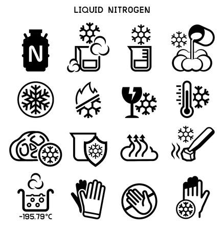 Vloeibare stikstof experiment pictogram. Chemisch product bij lage temperatuur.