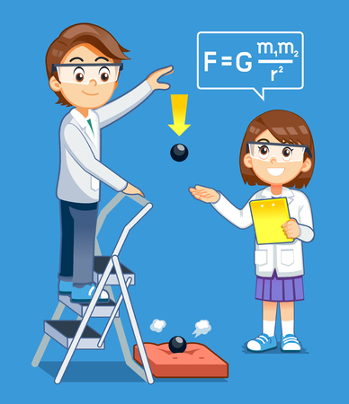 Gravity Science experiment kids class. Basic physics rules test. Illustration