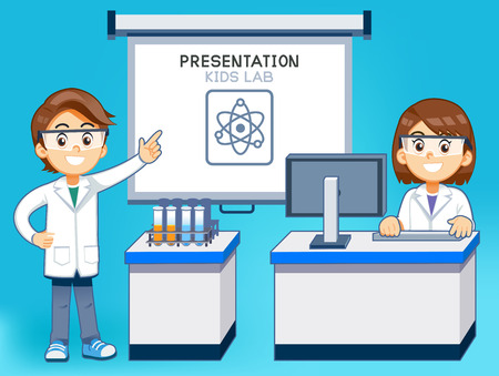 Presentation lesson in science classroom by computer. Scientific research of student.