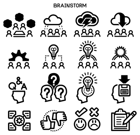 brainstorm icon. A Think group to create creativity in new idea. Problem solving is systematic.