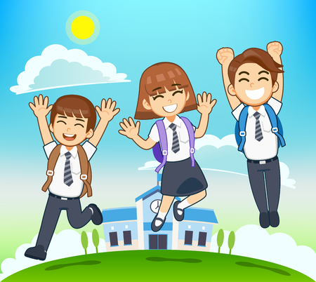 Students ready intend to participate new course. Kids go to school happily.