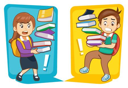 Surcharge des élèves apprenant en classe. les enfants essaient beaucoup de savoir pour l'éducation.