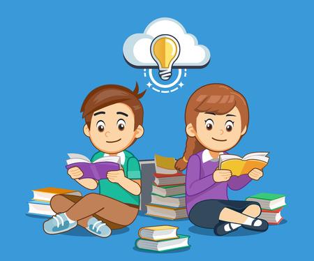 Les élèves recherchent des connaissances et se font une bonne idée avec un livre par eux-mêmes. Vecteurs