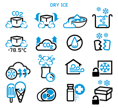 General icon of dry ice. Reaction and use a solid carbon dioxide.