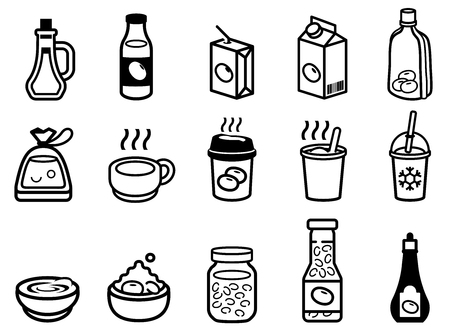 liquid food flavoring and milk from soybean in general product icon.
