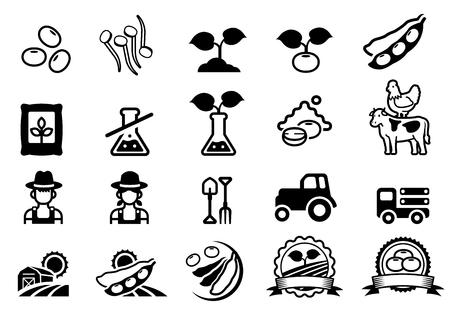 Icône de ferme de soja. Le symbole des légumineuses agricoles. Vecteurs