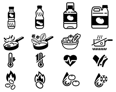 oil product and attribute of soybean general product icon. Ilustrace