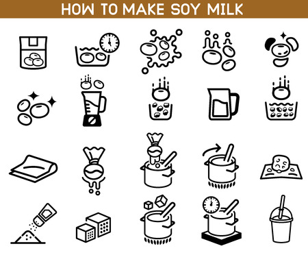 how to made soybean milk icon. Asian Cuisine ingredient. Soy milk processing. Фото со стока - 111071643
