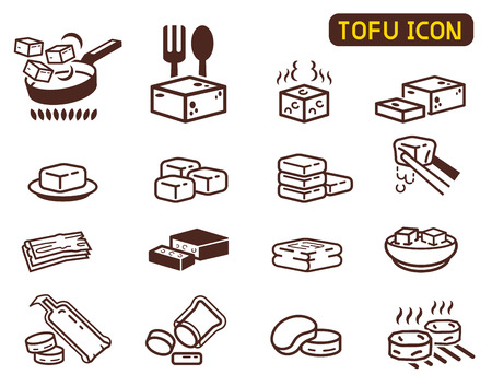 Cooking Tofu icon collection. Asian Cuisine ingredient. Soy milk processing. Ilustrace