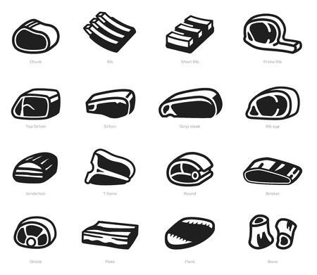 Pezzi di carne di manzo e di maiale nel mercato generale per la cottura (concetto di icona). Vettoriali