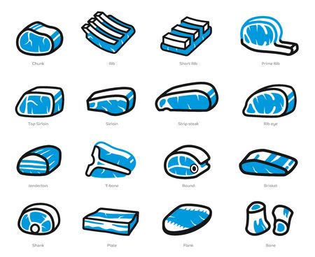Des morceaux de boeuf et de porc se congèlent sur le marché général pour la cuisson (concept d'icône).