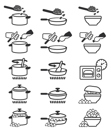 Changing raw corn kernels to popcorn by kitchenware in home. Illustration