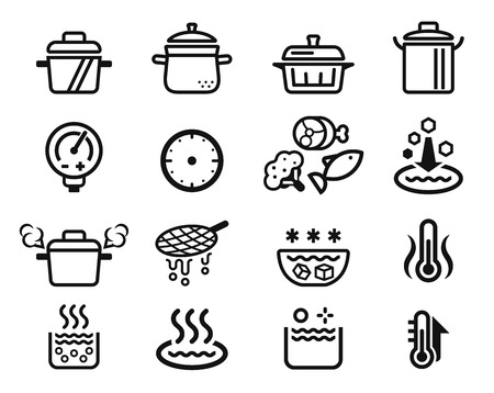 Qualification of boiled or stewed food by kitchenware icon. Illustration