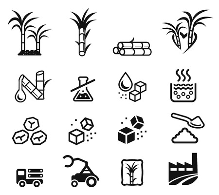 Quality sugar product from sugarcane factory (icon concept.) Illustration