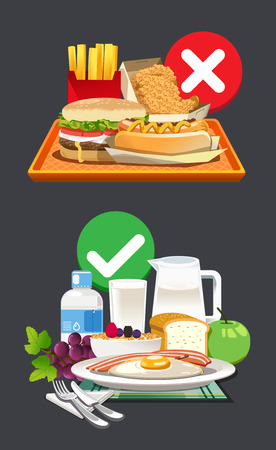 Useful breakfast choices. Choose foods that are beneficial to the body. 向量圖像