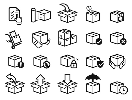Parcel care standard step icon of delivery service. Protection of goods, insurance and return for product. Illustration
