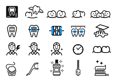 Getting Braces and dental Treatment at orthodontic clinic. Oral care concept icon. Illustration