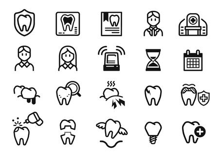 Symptoms and dental Treatment at clinic. Oral care concept icon. Vektorové ilustrace