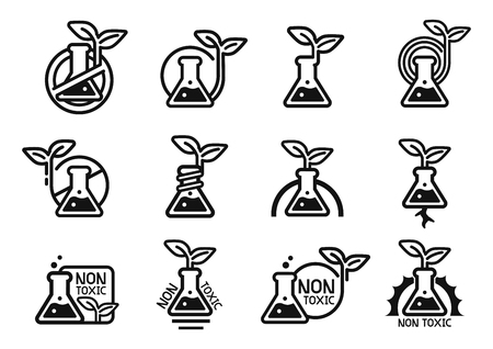 Soins verts et non toxiques issus de la technologie scientifique (concept d'icônes de collection de mélanges chimiques feuilles et Eco (2)). Sécurité certifiée par la chimie environnementale pour le produit utilisateur. Vecteurs