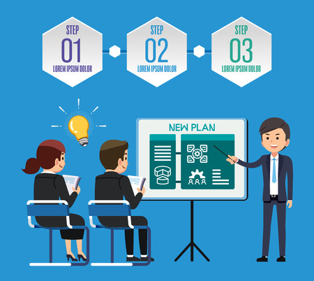 Step solving problems from working in company By gentlemen professional. Make your ideas for the plan to overcome the obstacles. Meeting about how to work success together.