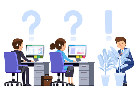 Supervisor watch the worker in office strictly. Playful ฺBoss concept. Work is rarely given the freedom of the employee. Vetores