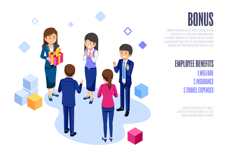 Annual Bonus of employees.Lady boss take care and Thank you staff web and poster design concept. Ilustração