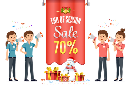 New Year's Eve Sale and Christmas Festival discount shopping at mall. Promotion for people to buy more. Business competition of the store. 向量圖像