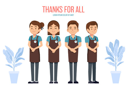 Staff thank customers for using the shop, cafe, mall, supermarket and all to Throughout the years. Get all comments and thanks for using service. Quality work man to ensure customer satisfaction.