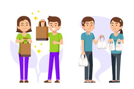 La tienda y la gente son conscientes de la reducción mundial de energía. La campaña es reducir el uso de bolsas de plástico en la tienda para usar la bolsa de tela para el medio ambiente. Ilustración de vector