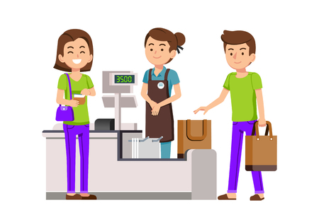 Use of cloth bag for Shopping in supermarket market. Spending money be happy and save the world. Illustration