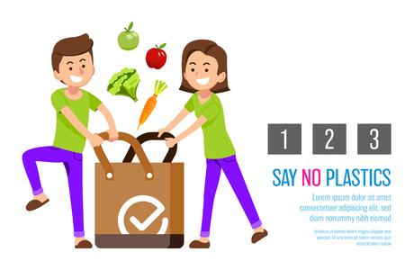 Reduzca el uso de bolsas de plástico en la tienda para usar la bolsa de tela para el medio ambiente. Sensibilización sobre la reducción energética mundial. Ilustración de vector
