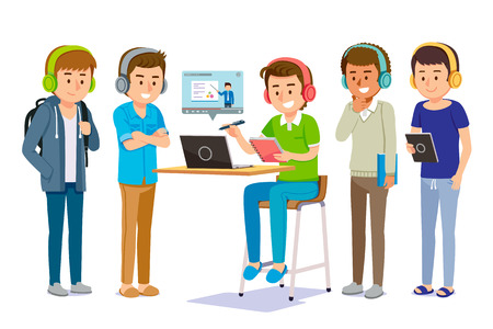 Online learning through electronic tools together. Man share and finding self-knowledge anywhere. e-book and video content service at internet.