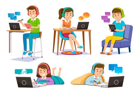 Nauka online za pomocą narzędzi elektronicznych. Ludzie Odnajdywanie samopoznania w dowolnym miejscu. Usługa e-booków i treści wideo. Ilustracje wektorowe