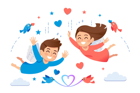 Impressions when you have great love. Giving freedom to lovers will make the couple understand each other and be happy. Ilustração