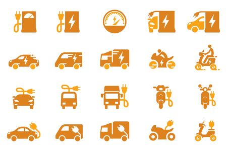 Electric vehicle and service station icon.