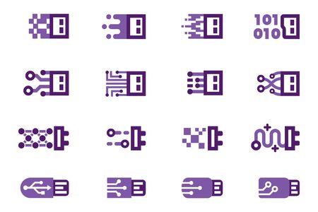 USB digital Port symbol abstract.