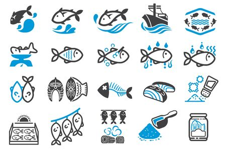 Fish processing and Fish Seasoning for food preservation. Illustration