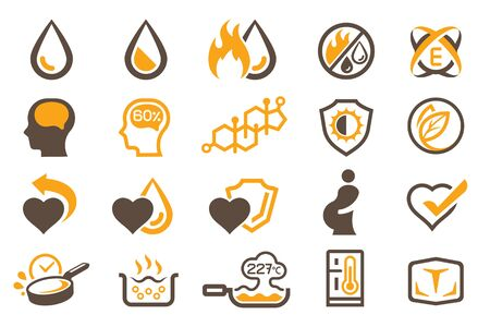 Physical properties and benefit of oils and fats to symbol and icon. Ilustração