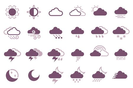 Weather icon. Climate in a day. Condensation of cloud.