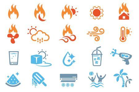Stratégies pour faire face aux températures extrêmement chaudes. Vecteurs