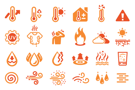 Hot temperature reaction icon. heat weather element. Stock Illustratie