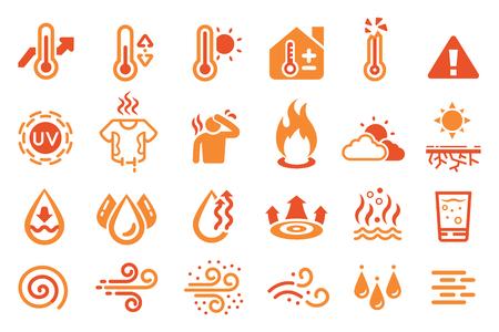 Icona di reazione a temperatura calda. elemento termico.