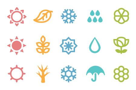 Five seasons symbol 3 set. Weather element.