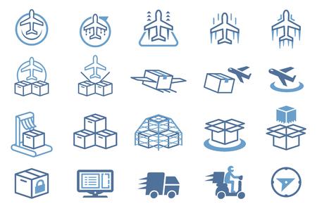 Plane goods logistic icon. Illustration