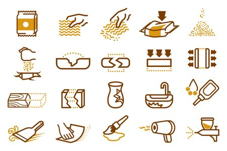 Repair of household with instant noodles. Ilustração